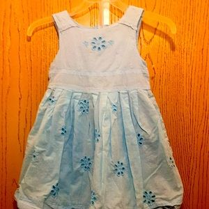OkieDokie sz3 Blue Embroidered Floral Lined Dress